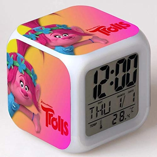 fdgdfgd Cute Anime Doll Toy LED Alarm Clock 7 Color Digital Alarm Clock With Thermometer Date