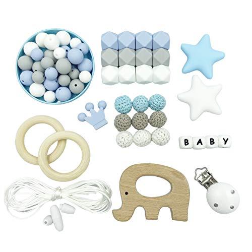 Kit de Perlas de Dentición de Silicona Cadena de Chupete DIY Collar de Lactancia para Bebé Perlas Hexagonales Pulsera de Madera con Anillo de Mordedor Regalo de Ducha