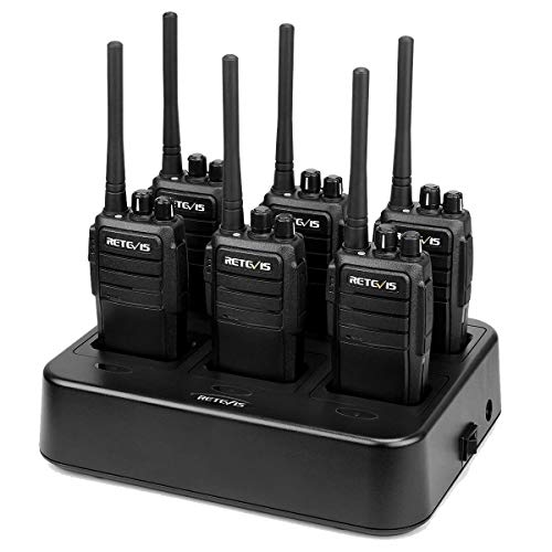 Retevis RT21 2 Way Radio Long Range, Walkie Talkies for Adults, Heavy Duty Rechargeable Two Way Radios with Six-Way Charger, for Manufacturing Education Government(6 Pack)