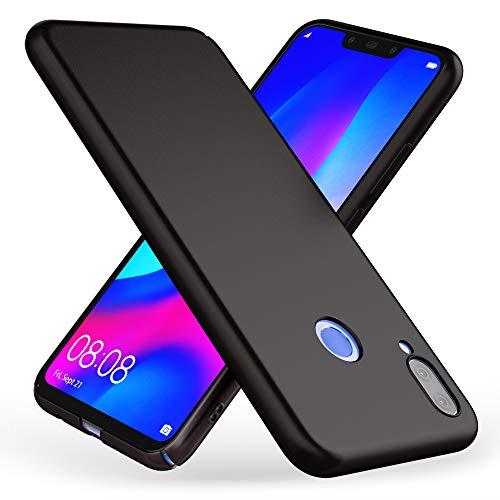 NALIA Custodia compatibile con Huawei P smart+ (2018), Ultra-Slim Case Protezione Rigida Protettiva Cover, Sottile Telefono Cellulare Bumper Guscio Copertura en Effetto Metallo, Colore:Nero
