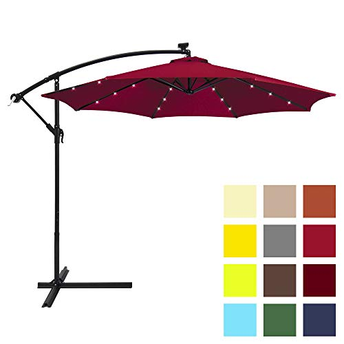 Best Choice Products 10ft Solar LED Offset Patio Umbrella w/Easy Tilt Adjustment - Burgundy