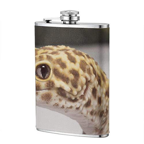 Miedhki Trinkflaschen für Alkohol, Onlinegeckos-Leopard-Gecko-Radar-Glocke-Albino-Eclipse-200 8 Unzen Edelstahl-Flachmann für Alkohol für Männer