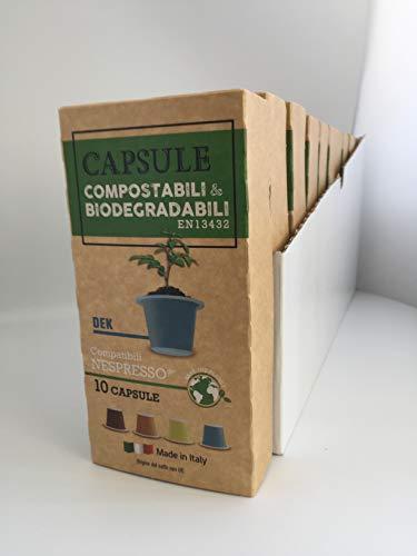 Capsule compatibili Nespresso Compostabili e Biodegradabili 100 capsule miscela Decaffeinato