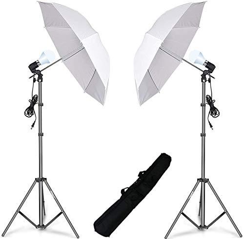HIFFIN® E27 Studio Single Holder KIT Umbrella White + Studio Light Stand 9 FT + Umbrella and Bulb Holder KIT Set of 2 (2 Single Holder ,2 Light Stand 9FT ,2 Umbrella, 2 20 WT Led Bulb )io Setup (Single Holder kit set of 2)