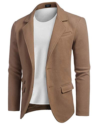 COOFANDY Men's Blazer Jacket Slim Fit Two Button Sport Coat Notch Lapel Casual Business Outwear Brown