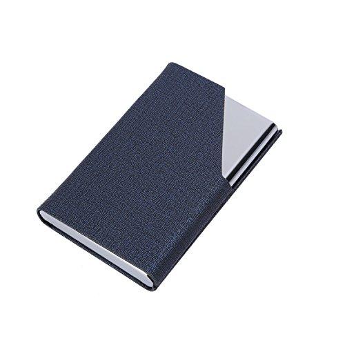 Visitenkarten Etuis Leder, UBaymax Metall edelstahl Visitenkarten-Etui Visitenkartenhalter mit Magnetverschluss, Visitenkartenetuis ID-Karten Hülle Kreditkartenetuisfür Büro Herren Damen (Blau)