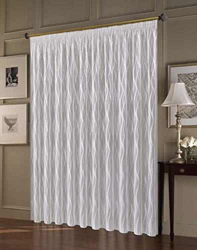 """Maßgeschneiderte weiße Gardine """"Matera"""", inklusive Kräuselband, Vorhang nach Maß, Gardinen nach Maß, Höhe 90 – 275 cm, Breite 1 –12 Meter (235 x 500 cm/HxB)"""