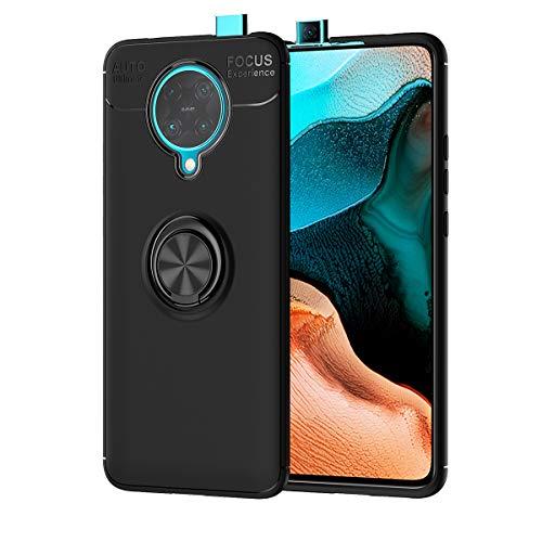 TANYO Hülle für Xiaomi Pocophone F2 Pro 5G, Ring Schnalle Und Magnetische Auto Halterung Abdeckung, Stilvolle Weiche TPU Und 360 °Drehbarer Halter Superdünne Schale. Schwarz