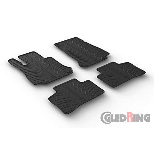 Gledring Set tapis de caoutchouc compatible avec Mercedes GLC X253 9/2015- (T profil 4-pièces + clips de montage)