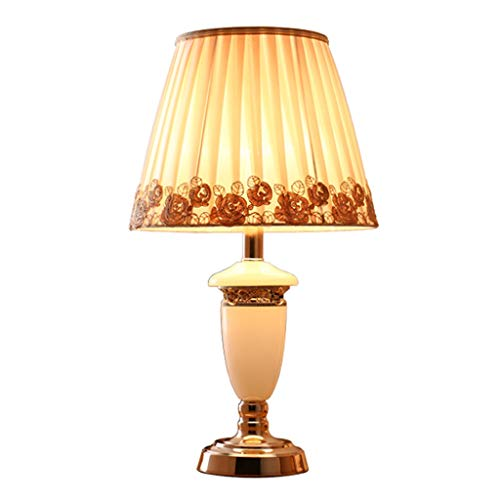 Lámpara de Mesa Lámpara de mesa de mármol de estilo europeo, latón, lámpara de noche exquisita del dormitorio del estudio Lámpara de Cabecera (Color : A)