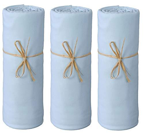 P'tit Basile 3 x Spannbettlaken für Babys, Jersey, Bio-Baumwolle, 70 x 140 cm, weiß, gekämmte Baumwolle, mit Rundumgummizug und 4 Ecken.
