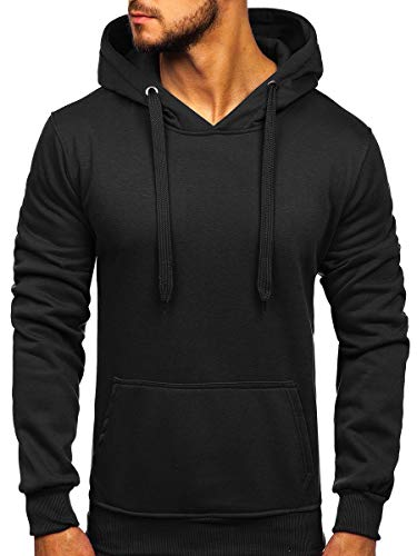 BOLF Homme Sweat-Shirt a Capuche Hoodie Sweat Manches Longues Temps Libre Sport Fitness Outdoor Basic Casual Style 2009 Noir XL [1A1]