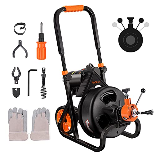 """Electric Drain Auger 75 Ft x 1/2 Inch Drain Cleaner Machine, Autofeed, Fit 2""""(50mm) to 4""""(100mm) Pipes, 6 Cutters, Clog Remover Plumbing Snake for Drain Cleaners, Service Plumbers- DCM01A"""