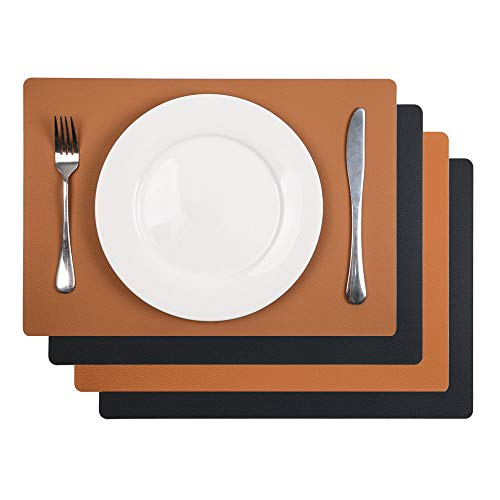 U'Artlines 4Pcs Faux Leather Placemats PU Waterproof Reversible Place Mat Heat Resistant Non-Slip Washable for Kitchen Dining Table (Black/Brown, Set of 4)