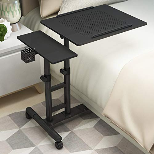 Juyhty Laptopbureau, afneembare tilt en inklapbare mini-creatieve slaapkamer-nachtkastje, luier, bureaustandaard, geschikt voor slaapzaal met bed, bank en tafel