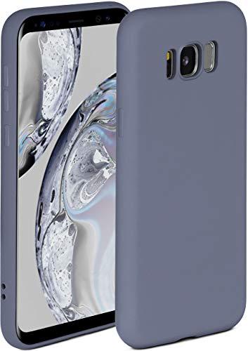 ONEFLOW Soft Hülle kompatibel mit Samsung Galaxy S8 Hülle aus Silikon, erhöhte Kante für Displayschutz, zweilagig, weiche Handyhülle - matt Blau Grau