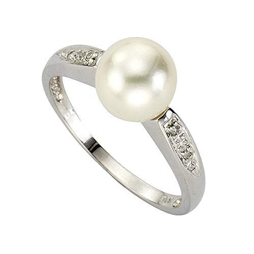 Diamonds by Ellen K. - Anillo de oro blanco de 8 quilates con diamante (.02), talla 10 (15,92 mm)