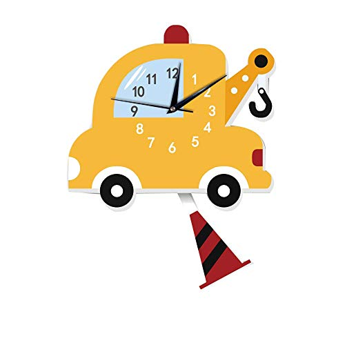 HYY-YY Dekorative Uhren Feuerwehrauto Uhren Kinderzimmer Kindergarten Früherziehung Niedlich Auto Cartoon Schaukel Wanduhr