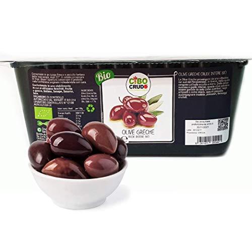 CiboCrudo Olive Greche Intere Biologiche Crude, Raw Organic – 250gr – Olive Kalamata con Nocciolo, dalla Regione Greca del Peloponneso, Etichette in Italiano