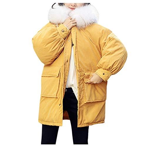 MOMOXI Abrigos Desigual 2019 Nuevo Abrigo de AlgodóN con Capucha y Cremallera de Color SóLido para Mujer, Piel SintéTica Abrigo con Botones con Capucha Chaquetas Largas y SóLidas Abrigos de Bolsillo