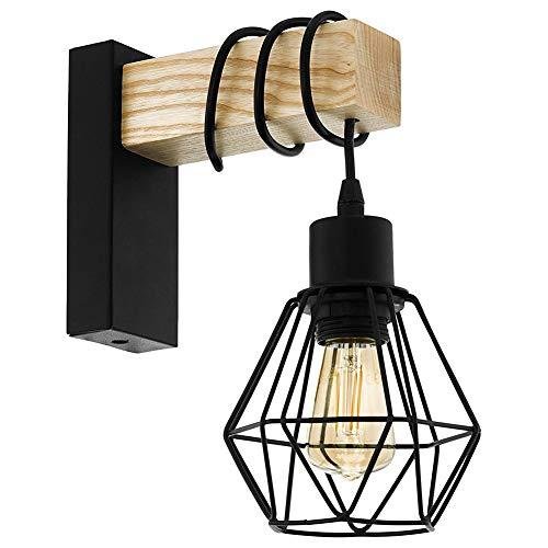 Madera luz de pared interior, Clásico Soporte para lámpara de pared, industrial lampara Estilo Metal, Negro pantalla de lámpara, Geométrico colgante de luz E27 (Sin bombillas)