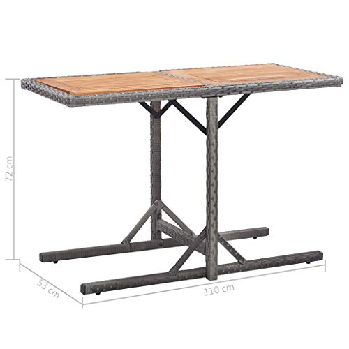 Estink Garden Table, Poly Rattan and Solid Wood Bistro Table with Wood Top Coffee Table Modern Outdoor Patio Backyard Furniture Anthracite, 110 x 53 x 72 cm