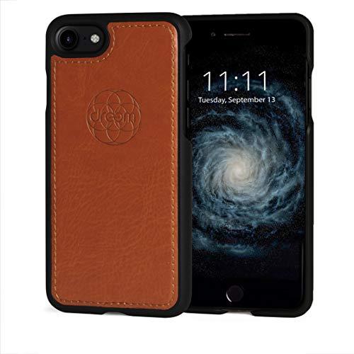 Dreem Fibonacci Luxury Vegan Leather Case for iPhone SE 2020 iPhone 8/7, stoßfestes TPU Slim Case for iPhone funktioniert mit magnetischen Halterungen, Geschenkbox - Karamellfarben