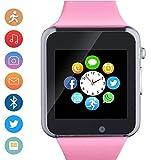MyTECH Smartwatch A1 Reloj Celular Camara Bluetooth MicroSD Compatible Android iOS Hombre Mujer Niño Reloj Inteligente A1 (Rosa)