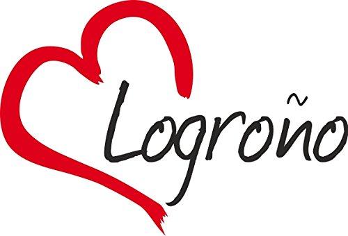 """Vinilo Adhesivo para el coche o la moto """" LOGRONO """" Logroño (Ciudad) corazón Sticker ca.9x13cm Pegatina sin fondo"""