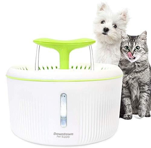 Downtown Pet Supply Fuente de alimentación automática para mascotas, dispensador de agua ultra silencioso, opciones de boquilla doble con filtro incluido para gatos y perros