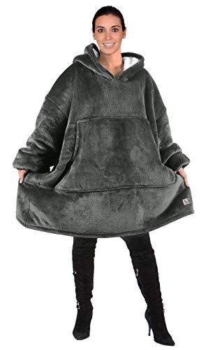 Kato Tirrinia Übergroße Sherpa Hoodie Sweatshirt Decke, Weiche Warme Riesen Hoodie Fronttasche Giant Plüsch Pullover Decke mit Kapuze for Erwachsene Männer Frauen Teenager-Studenten, Grau