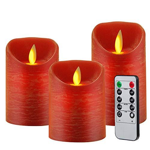 3pcs Velas LED con Mando a Distancia de 10 Botones(Temporizador 2/4/6/8 H, 2 Modos, Regulable) 7,5x10/12,5/15cm, para Navidad,Restaurante,Bar,Semana Santa, Rojo