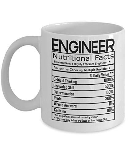 N\A Taza de café de Ingeniero - Regalos de ingeniería Etiqueta de información nutricional de Ingeniero Ciencia Matemáticas Regalo Taza de café Taza de té Blanco Mejores ingenier