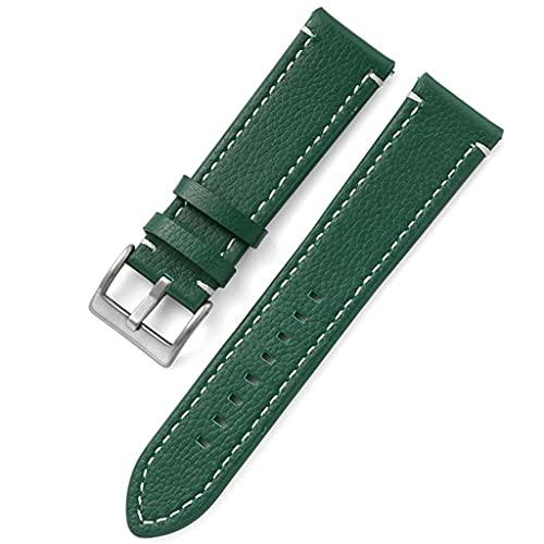 NJBYX Cuero de doble cara 18 mm 20 mm 22 mm 24 mm Correa de reloj Correa de reloj de liberación rápida Hombres Mujeres Amarillo Rojo Negro Accesorios de reloj (Color : Green, Size : 18mm)