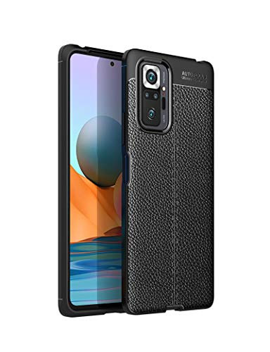 """LEYAN Funda para Xiaomi Redmi Note 10 Pro (6.67""""), TPU Silicona Protección Carcasa, Bumper Caso Case Cover con Shock- Absorción & Patrón Cuero (No Cuero), Negro"""