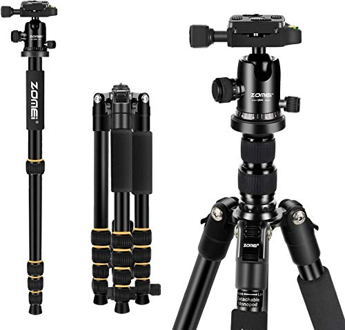 "ZOMEi Camera Tripod 62"" Light Weight DSLR Tripod with Ball Head Quick Release Plate and Carrying Case (Aluminum Tripod)"