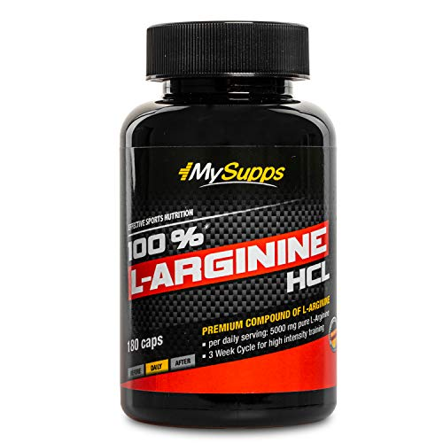 My Supps 100% L-Arginine-Hydrochlorid - hochdosiert - 5000mg pflanzliches pures L-Arginine HCL aus Fermentation je Tagesdosis , Made in Germany (180 Kapseln)