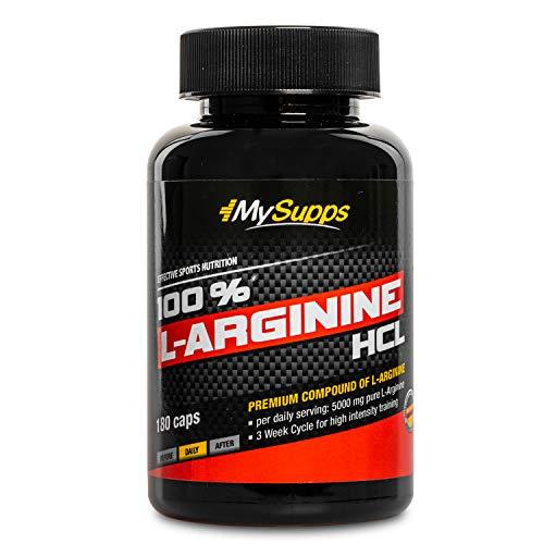 My Supps 100{0e55c76ce8513f8c46a27c8a4ab272d05207bc69d4fa4b13a5f06fb8af57fe51} L-Arginine-Hydrochlorid - hochdosiert - 5000mg pflanzliches pures L-Arginine HCL aus Fermentation je Tagesdosis , Made in Germany (180 Kapseln)