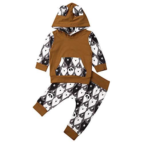 Geagodelia Babykleidung Set Baby Jungen Mädchen Kleidung Outfit Langarm Kapuzenpullover Top + Hose Neugeborene Weiche Babyset T-33958 (Braun Bär 812, 18-24 Monate)