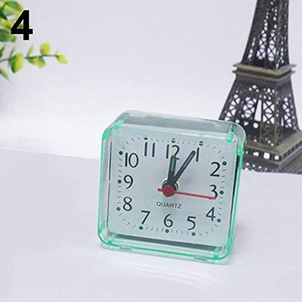 Tcplyn Premium Quality Clock Bed Travel Mini Portable Compact Square Quartz Beep Table Silent Alarm Clock Green
