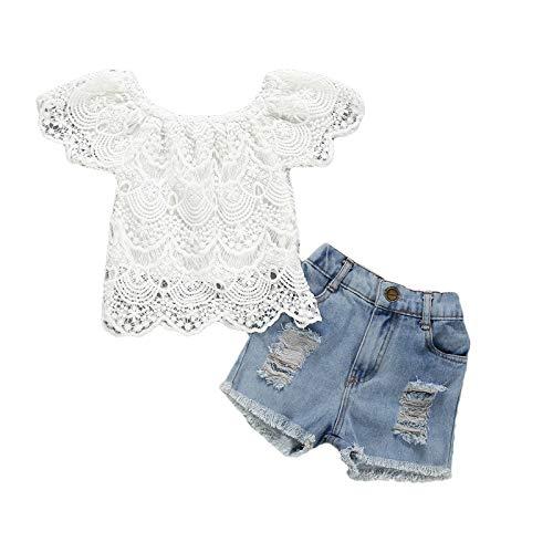 Conjunto de 2 piezas de verano para niña, camiseta con encaje de...