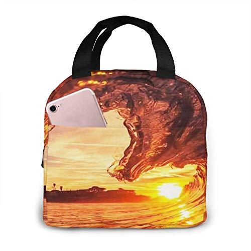N\A Sunset Dusk Waves Impreso Portátil Almuerzo Bolsa De Almuerzo Bolsa De Almuerzo Enfriador Aislado Bolsa Térmica Reutilizable Bolsos De Mano para Mujer Trabajo Picnic O Fiambrera De Viaje