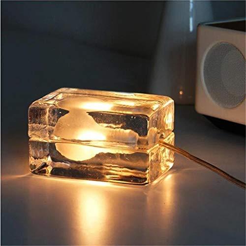 XFSE - Lámpara de mesa de cristal moderna para restaurante, salón, estudio, mesita de noche, ladrillo de superposición LED, cumpleaños, regalo de mesa