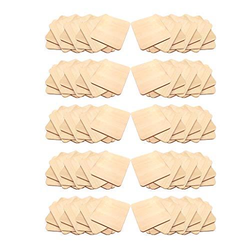 oshhni Paquete de 100 Piezas de Madera en Blanco, Viruta de Madera, Bricolaje, Trozos de Madera