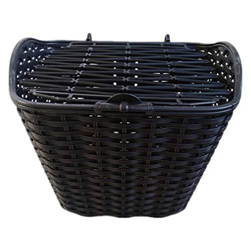 CLISPEED Fahrradkorb Kunststoff Rattan Vorne Lenker Fahrradkörbe mit Halterdeckel für Fahrradzubehör (Schwarz)