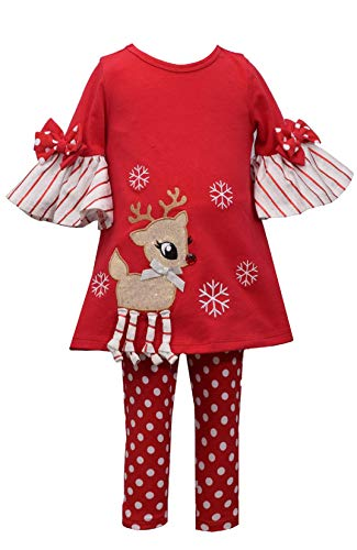 Bonnie Jean Holiday Christmas Tunic with Reindeer Applique Outfit Set (Red, 3T)