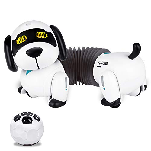 Fistone RC Robot Puppy Dog Toy, Remote Control Dachshund with Walking and Barking Interactive Smart Electronic Pets Toys for Boys Kids Ages 3 4 5 6 Years Old