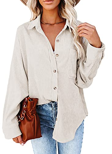 Astylish Womens Long Sleeve Button Up Pocket Shirts Ladies Loose Fit Corduroy Tunic Blouse Tops Beige M