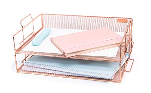 Rosework Rose Gold Letter Tray - 2 Tier Rose Gold Desk Organizer for Women, Stackable Paper Tray Organizer, File Organizer for Home Office and Desk Accessories