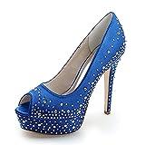 Love Shoes Peep Toe Tacco A Spillo Donna Scarpe da Sposa Comfort Festa Scarpe da Sera Piattaforma Tacco Alto Sposa Scarpe da Damigella d'Onore,Blu,36EU/5.5UK